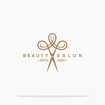 haircut salon logo with scissor vector illustration design