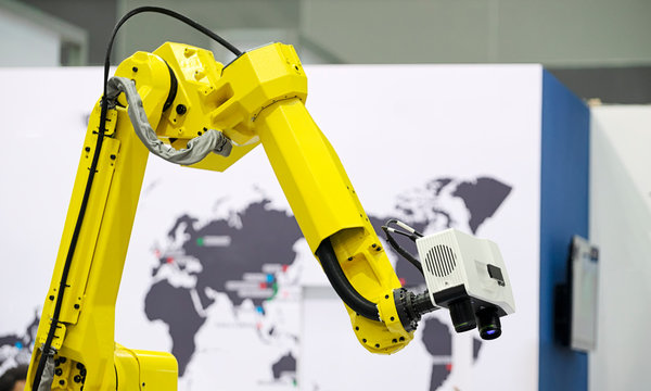 Visual inspection technology with camera on industrial robot arms for fast,repeat and accurate inspection.