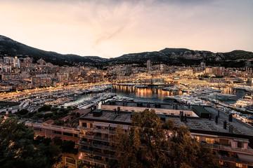 Fototapete - Sunset on the harbor of Monaco