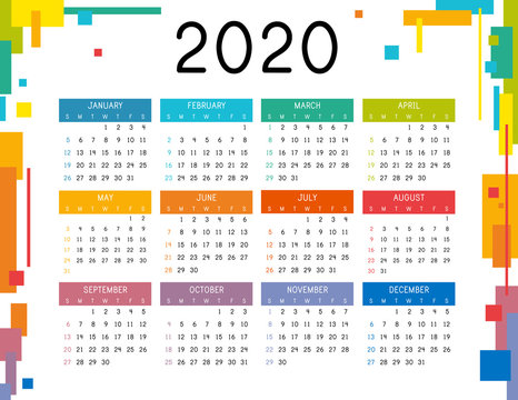 Calendar 2020 on white background. Colorful calendar 2020 year. Simple vector template