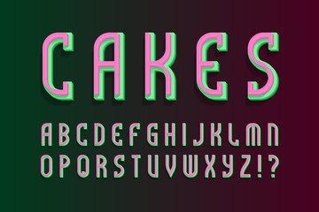 Cakes layered alphabet. Colored 3d font. Isolated english alphabet.