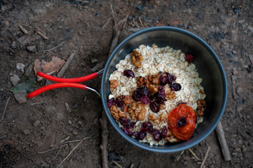 Tourist's breakfast - milk oatmeal with dried fruits