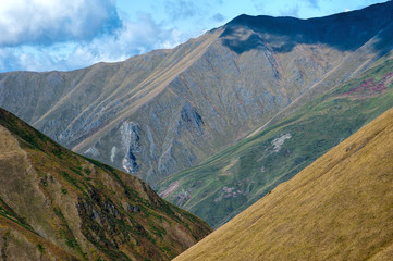 Tricolored slopes in the gorge of Georgia