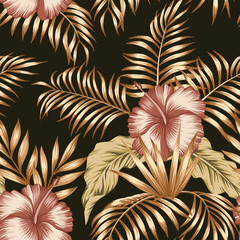 Wall Mural - Tropical botanical composition hibiscus gold palm leaves black background
