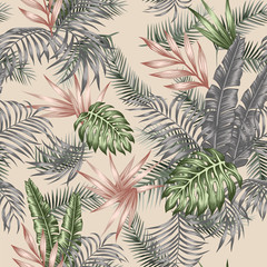 Wall Mural - Tropical leaves seamless vector botanical pattern beige background