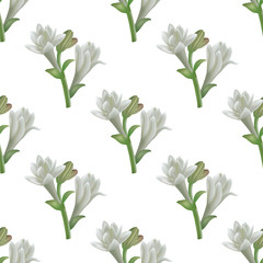 Tuberose Flowers Pattern in Realistic Style