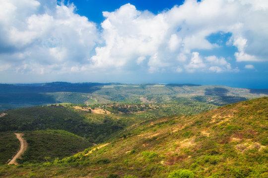 Panoramic view of Haifa green hills in a sunny summer day. Viewed from Haifa University. Haifa, Northern Israel