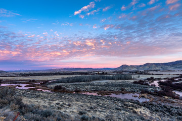 Stream and field at sunset in Picabo, Idaho