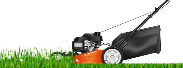 Lawn mower. Mowed grass. Lawn mower cutting green grass. Vector illustration.