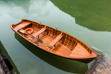 Row boat on lake