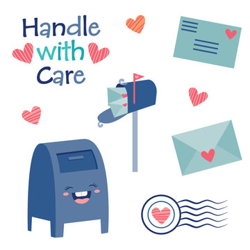 Vector Handle with Care Cute Postal Mail Illustration