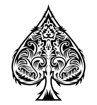 Tribal Style Spade Ace Design, Poker emblem vector illustration