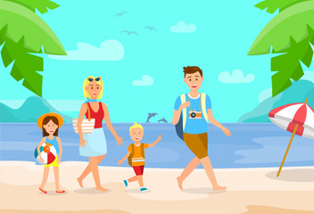 Summer Vacation on Beach Cartoon Illustration