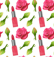 Seamless pattern with roses lipstick prints. Can be used for wallpapers, posters, wrapping paper. Vector Eps10