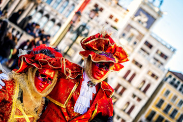 Close-up of a costume reveller poses during the Carnival in Venice, Italy.