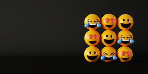 Love and happiness emoticon 3d rendering background, social media and communications concept