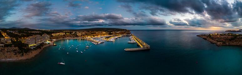Mallorca, El Toro, Port Adriano at blue hour, aerial view