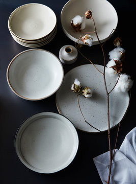 White Plates with Cotton Bloom