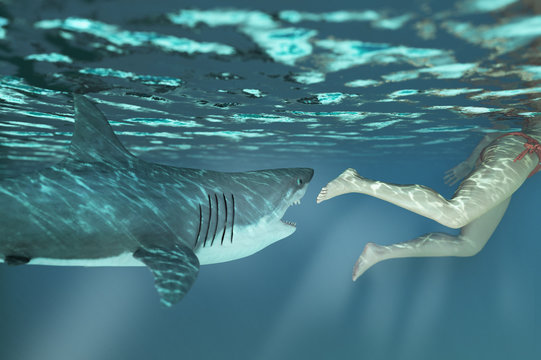shark attacks man in water 3d rendering