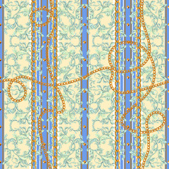 Baroque seamless pattern with chains. Vector striped patch for print, fabric, scarf.