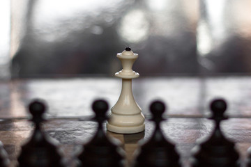 Chess board and party. Metaphor of loneliness, isolation and opposition. One against all. Queen and pawns. Leader and subordinates. Barrier to victory. Unique person in society.