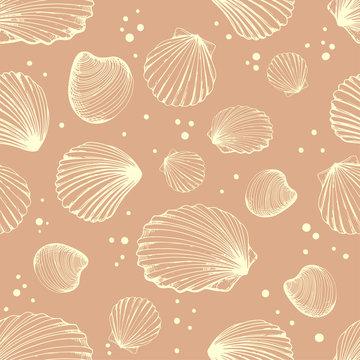 Seamless pattern. Vector Illustration of handdrawn seashells in sketch style on beige background. Beach design.