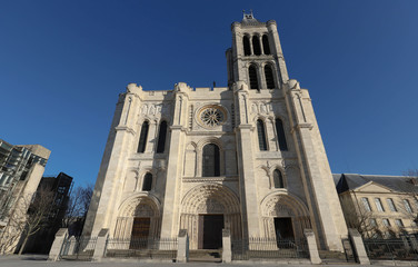 Exterior facade of the Basilica of Saint Denis, Saint-Denis, Paris, France