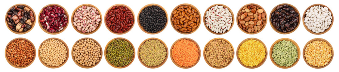mix legumes in wooden bowl isolated on white background