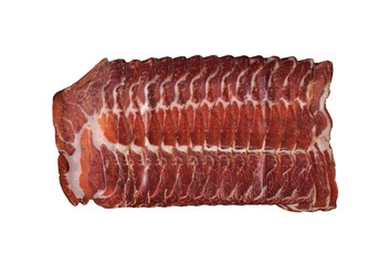 dry-cured back bacon on white background.