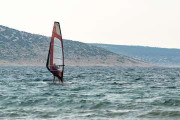 learning Windsurfing on the Adriatic Sea