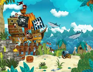 Cartoon scene of beach near the sea or ocean - pirate ship - illustration for children