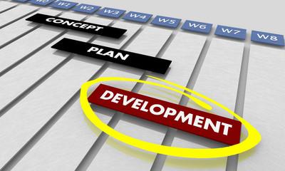 Development Concept Plan Process Timeline Gantt Chart 3d Illustration