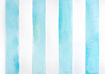Watercolor background with teal maritime stripes. Beautiful graphic illustration for fresh summertime accent and freedom vibe. Hand painted soft watercolour sketchy drawing on white textured backdrop.