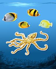 Sea creature sticket underwater background