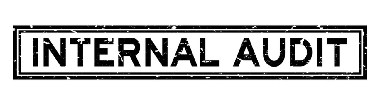 Grunge black internal audit word square rubber seal stamp on white background