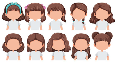 Set of faceless brunette girl character