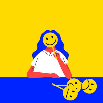 Office life, female worker using smile face sign to cover her face conveying the message of keeping service mind attitude