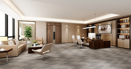 3d render of working office