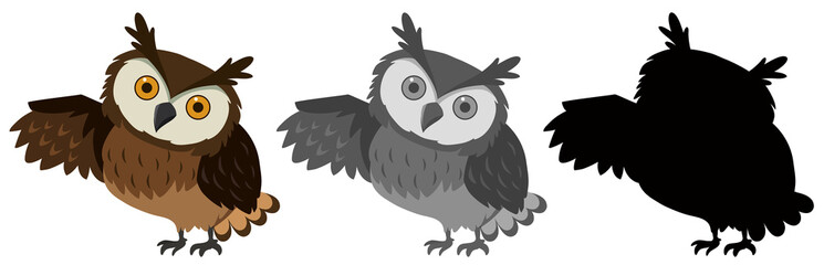 A set of owl character