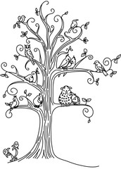 Tree full of Birds Coloring Page