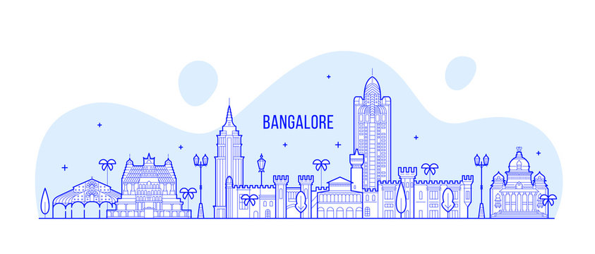 Bangalore skyline Karnataka India city vector line