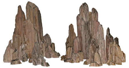 Beautiful volcanic rock carved by erosion. Stones on white background provided with a clipping path Fotobehang