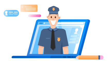 Policeman Character Headshot Appear from Laptop