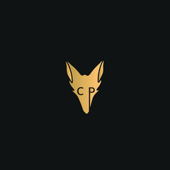Wolf, Fox logo vector. Golden animal logo on black background. CP initial