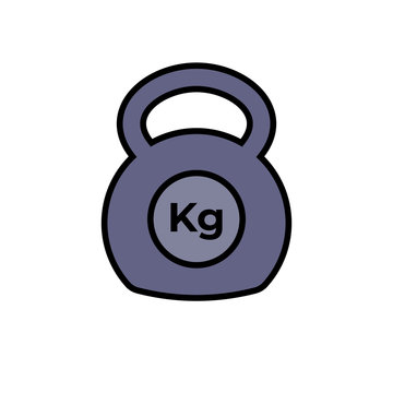 kettlebell icon fitness exercise equipment with kilogram unit symbol. simple vector graphic