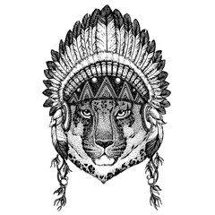 Leopard. Wild animal wearing inidan headdress with feathers. Boho chic style illustration for tattoo, emblem, badge, logo, patch. Children clothing