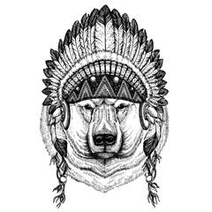 Bear, polar bear. Wild animal wearing inidan headdress with feathers. Boho chic style illustration for tattoo, emblem, badge, logo, patch. Children clothing