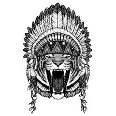 Wild tiger. Zoo. Animal wearing inidan headdress with feathers. Boho chic style illustration for tattoo, emblem, badge, logo, patch. Children clothing