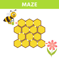 Cartoon maze for kids with cute bee and flower. Labyrinth. Maze game for kids. Development activity for preschool children.
