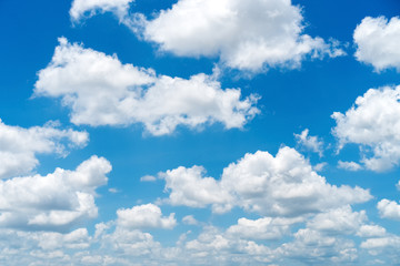 Blue sky and white clouds background. Wall mural